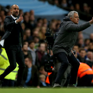 Pep Guardiola och Jose Mourinho coachar sina lag.
