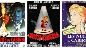 Cabirian yöt. Kolme elokuvajulistetta.