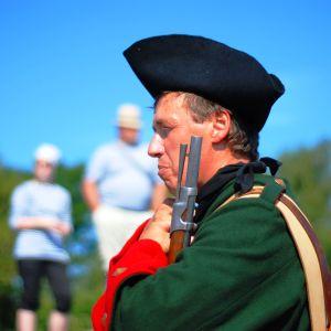 En soldat vid rekonstruktionen av slaget vid Rilax.
