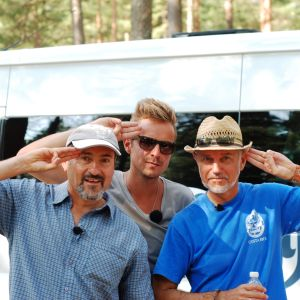 Héctor Melo, Jontti Granbacka och Audun Adsen på scoutlägret Atlantis 2014 i Syndalen.