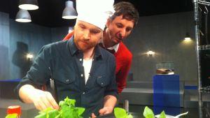 Hyönteiskokki Topi Kairenius valmistaa hyönteisruokaa Prisma Studiossa