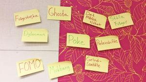 Post it-kappar på vägg med tio nyord