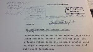 Rapport från Sveriges ambassad i Helsingfors om nytt avtal med Sovjet 1991.