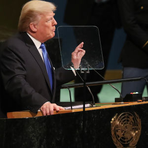 Donald Trump talar inför FN:s generalförsamling.