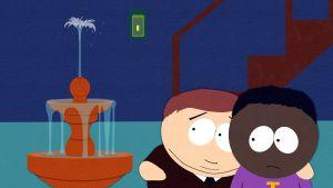 Cartman och token tittar på fontänen