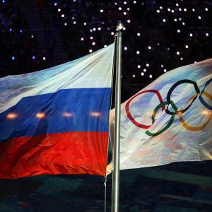 Ryska flaggan och OS-flaggan under vinter-OS i Sotji 2014