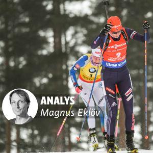 Anastasija Kuzmina och Kaisa Mäkäräinen, med Magnus Eklövs analysvinjett.
