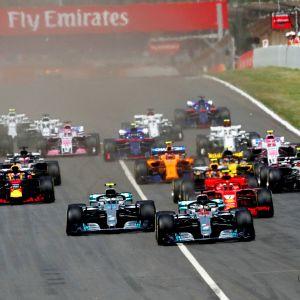 Lewis Hamilton tog hem starten i Spaniens GP.