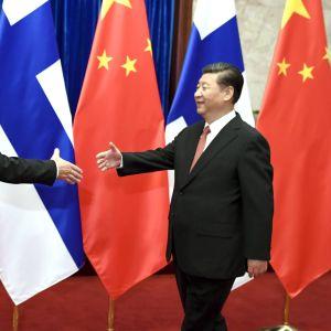 Finlands statsminister Juha Sipilä skakar hand med Kinas president Xi Jinping.