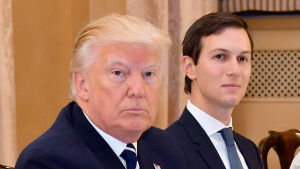 USA:s president Donald Trump med svärsonen Jared Kushner.