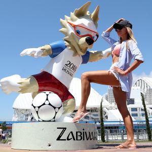 Officiella maskoten Zabivaka, fotbolls-VM i Ryssland 2018.