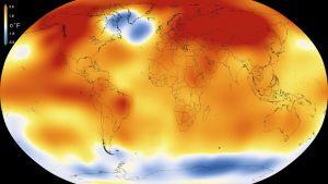 Nasas illustration av hur mycket medeltemperaturen har stigit på olika håll i världen sedan 1880.