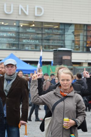 Motdemonstration Åbo salutorg 19.8.2017
