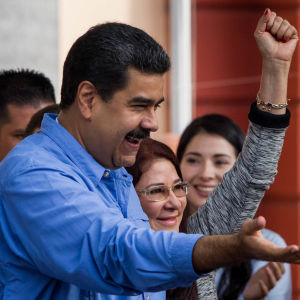 Venezuelas president Nicolás Maduro under en demonstration i Caracas 21.11.2016
