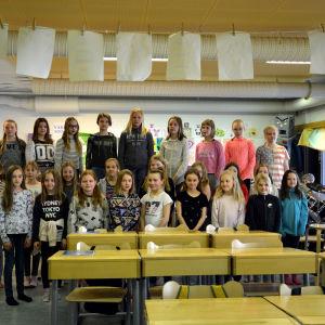 Gerby skolas projektkör som ska delta i Skolmusik 2017.