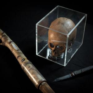 Murha-aseena käytetty sauva sekä pääkallo