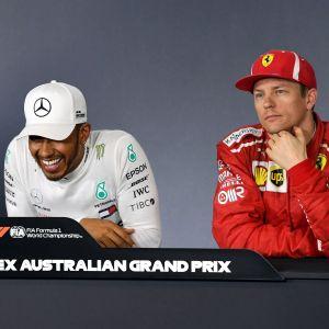 Sebastian Vettel, Lewis Hamilton och Kimi Räikkönen på presskonferens.