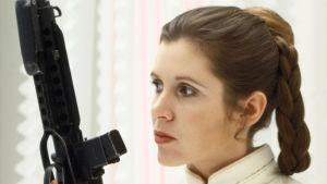 Carrie Fisher som prinsessan Leia 1980 i filmen The Empire Strikes Back.