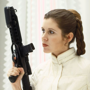 Carrie Fisher som prinsessan Leia 1980 i filmen The Empire Strikes Back.