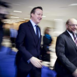 Storbritanniens premiärminister David Cameron och EU-parlamentets ordförande Martin Schulz.