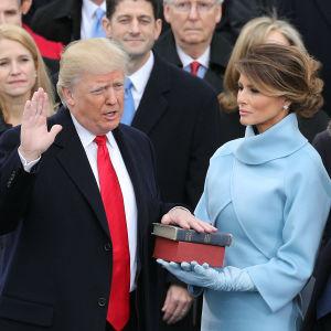 Donald Trump svär presidenteden med handen på två biblar som Melanie Trump håller.
