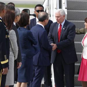 USA:s vicepresident Mike Pence anlände till Sydkorea endast några timmar efter ett nytt nordkoreanskt missiltest som misslyckade