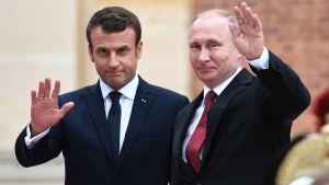 Frankrikes nye president Emmanuel Macron och Rysslands president Vladimir Putin i Versailles den 29 maj 2017.