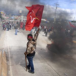 Supportrar av oppositionskandidaten Salvador Nasralla demonstrerar och viftar med flagga.