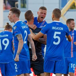 Isländska spelare firar efter 1-0 hemmasegern över Kroatien.