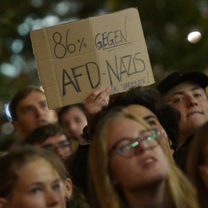 Demonstration mot det tyska högerpartiet Alternative für Deutschland (AfD) i Berlin den 24 september 2017.