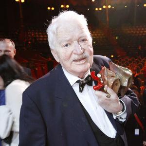 Skådespelaren och underhållaren Hans Alfredson vid Guldbaggegalan år 2013.