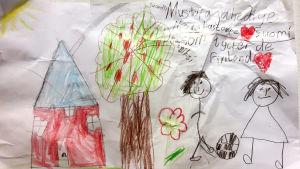 Teckning som visar en lycklig familj