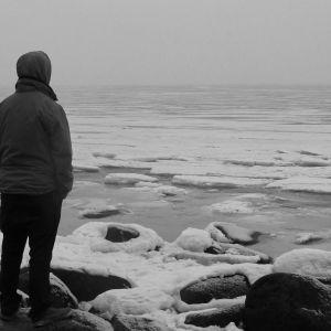 person står vid stranden och tittar ut över isen