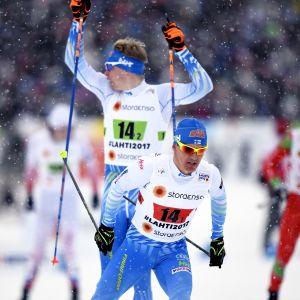 Sami Jauhojärvi och Iivo Niskanen växlar