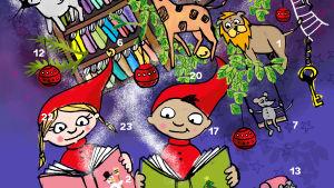 Papperskalendern är illustrerad med två tomtar som läser böcker. I bakgrunden bokhyllor med böcker.