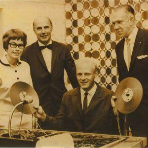 Birgitta Pakarinen, Christoffer Schildt, Stig Malmberg och Enzio Sevón i Yles Borgåstudio den 1.9.1967.