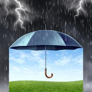 Ett tecknat paraply som håller regnet borta.