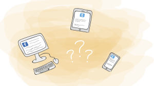 En illustration med en telefon, ipad och en dator.