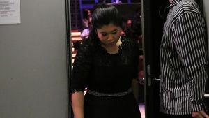 Hyo-Eun Park tulee lavalta välieräsuorituksensa jälkeen.