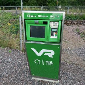 Biljettautomat på Sjundeå järnvägsstation.
