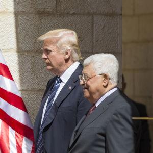 Donald Trump och Mahmoud Abbas i Betlehem 23.5.2017