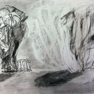 Abstrakt teckning i blyerts