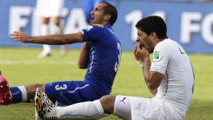 Luis Suarez och Giorgio Chiellini bråkar i VM 2014.