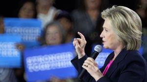 Hillary Clinton på ett valmöte i Tampa i Florida den 6 september 2016.