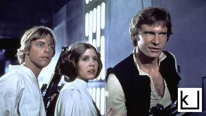Luke Skywalker, prinsessa Leia ja Han Solo