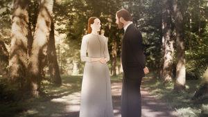 Georg och Elisabeth står som animerade figurer i en park.