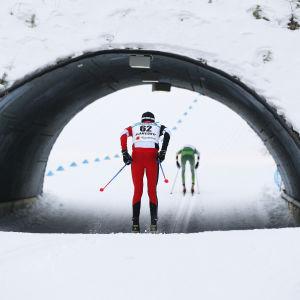 Skidåkare i kvaltävlingen i Lahtis.