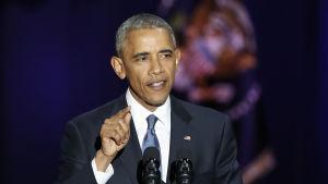 Barack Obama höll sitt avskedstal som president i sin hemstad Chicago.