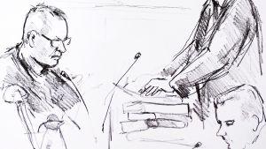 Peter Madsen under rättegången i Köpenhamn.