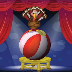 En tecknad kalkon balanserar på en boll på en cirkus.